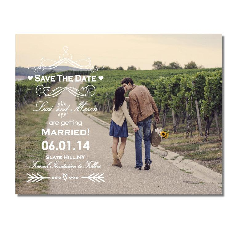 Mariage - Vintage Photo Save The Date Magnet or Card DIY PRINTABLE Digital File or Print (extra) Arrow Save The Date Country Save The Date