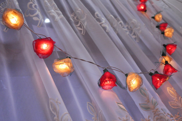 Mariage - Pink and White Rose with green leaves String lights for Patio,Wedding,Party and Decoration (35 bulbs)