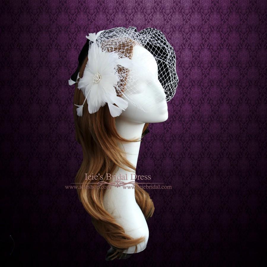 Свадьба - Birdcage Veil with Feather Flower