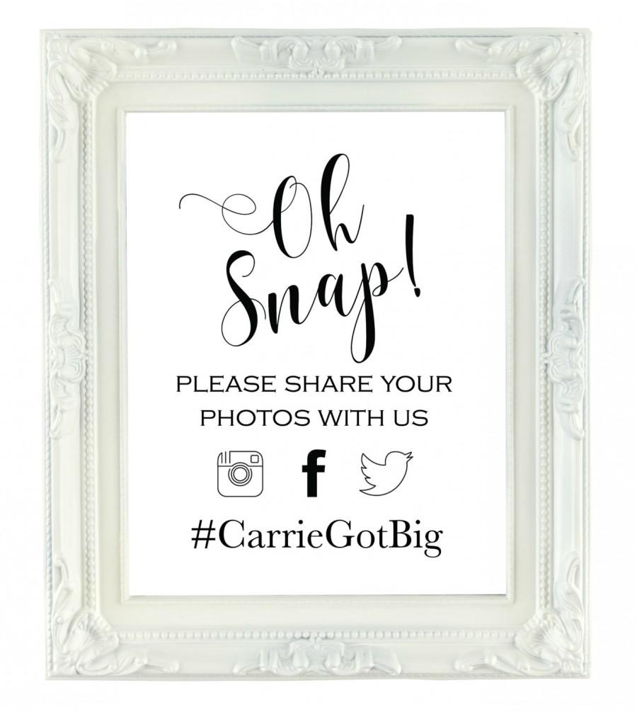 Mariage - Oh Snap! Custom Hashtag Sign, Digital Wedding Hashtag Sign, Printable Party Sign, 8x10, Personalized Sign, Instagram Sign, Social Media