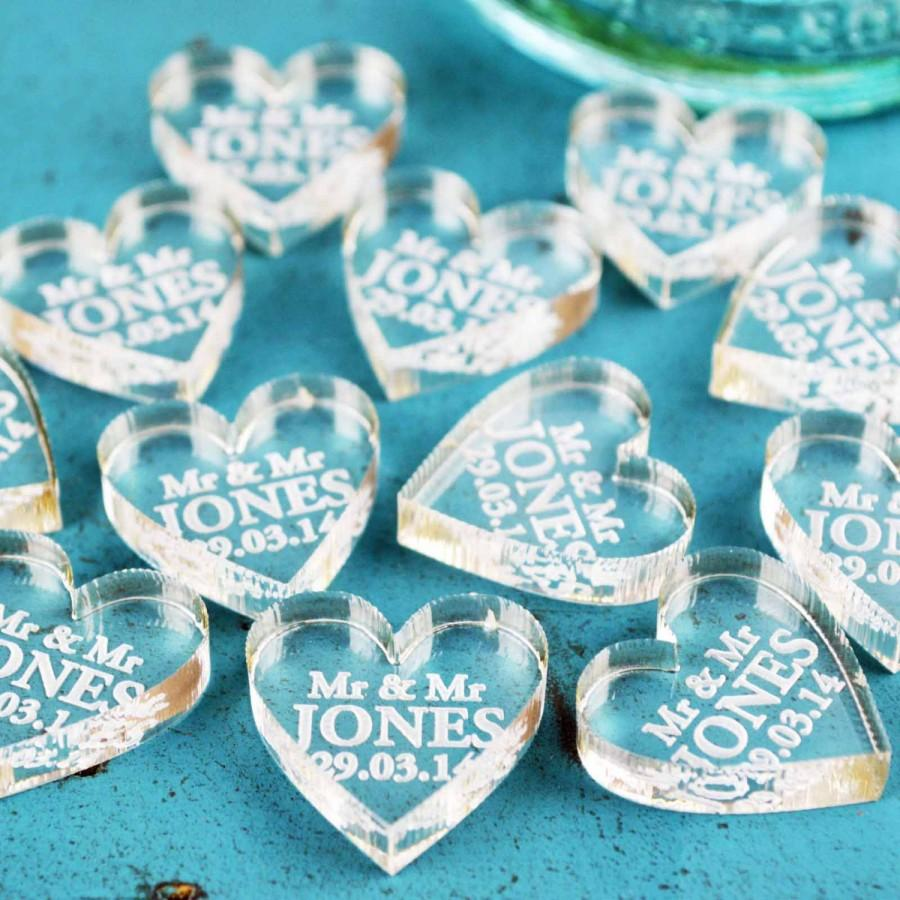 Personalised Heart Wedding Favours And Wedding Table Centrepiece