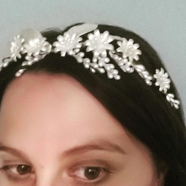 Wedding - Wax flower crown, ivory crown, floral bridal headband, vintage headpiece