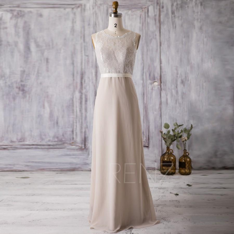 long bridesmaid chiffon cream dress