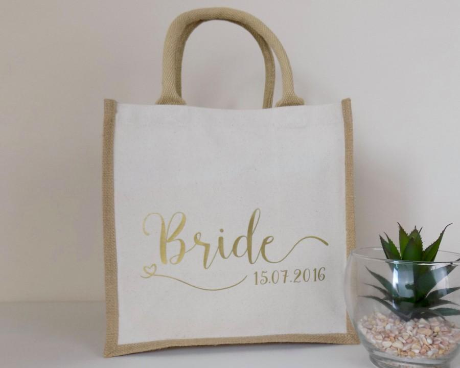 Bride Gift - Personalised Jute Bag Ideal Wedding Gift - Cotton ...