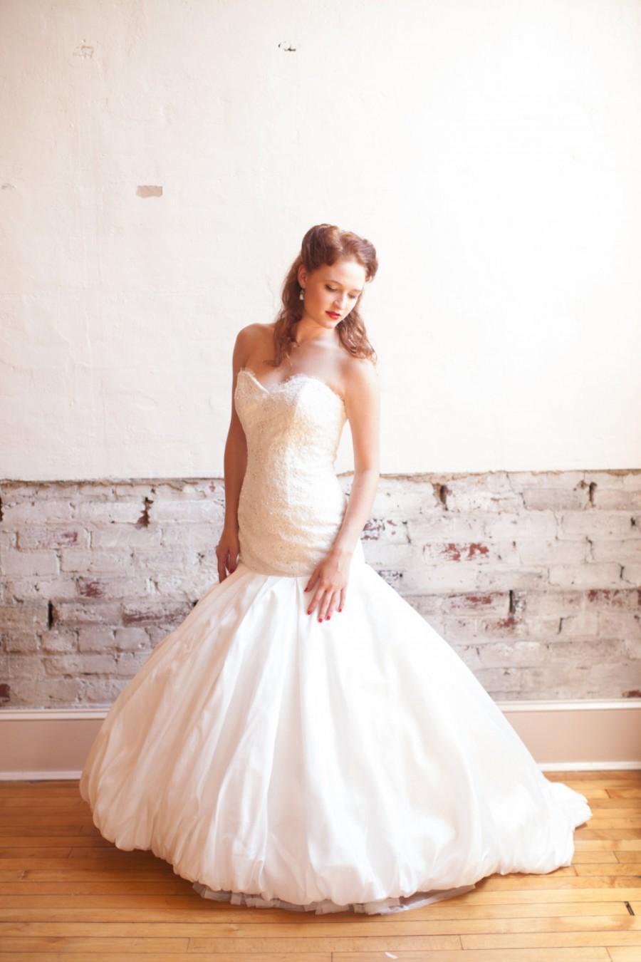 Bubble Hem Wedding Dress With Alencon Lace Bodice And Eyelash Fringe