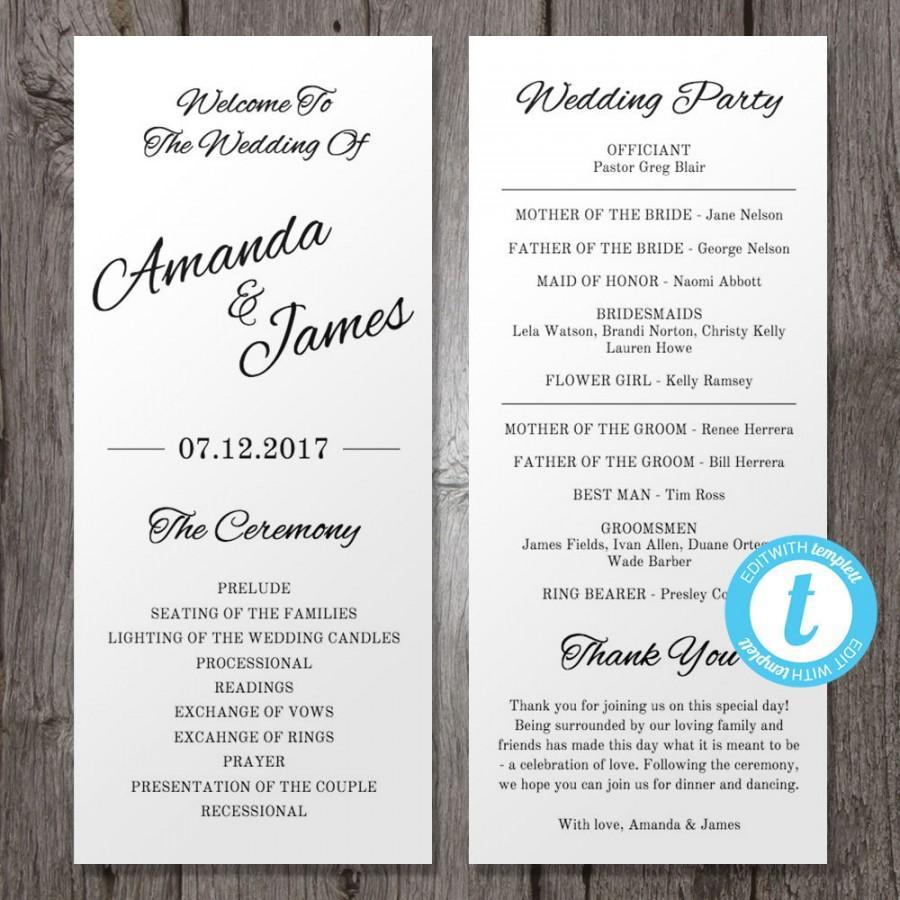 Wedding - Printable Wedding Program Template, Instant Download - Edit in Our Web App - Clean & Cursive - Tea Length Program