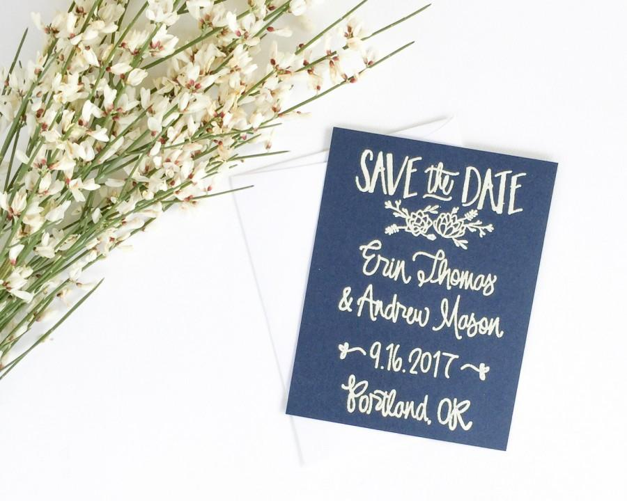 Mariage - Custom Save the Date Stamp - succulent - Wedding Save the Date - hand lettered save the date - save the date custom stamp- succulent - H1500