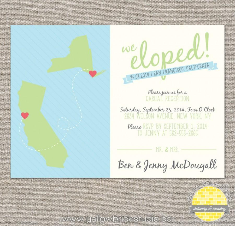 Wedding - 2 states/provinces/countries elope announcement - hearts and map - diy printable file by YellowBrickStudio