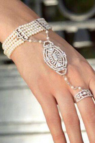 Свадьба - Chic Faux Pearl Multi-Layered Rhinestone Bracelet With Ring For Women