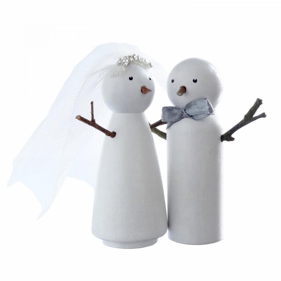 Snowman Bride And Groom Winter Wedding Cake Topper - Handpainted ...