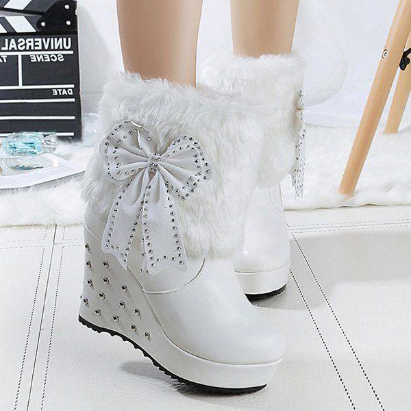 Mariage - Bowknot Faux Fur Rivet Wedge Boots