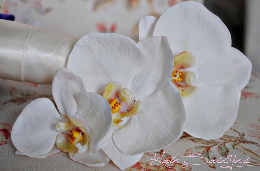 زفاف - Three Orchid Real Touch Hair Pin