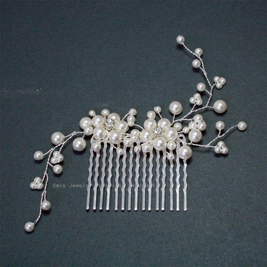 Mariage - White Pearl Wedding Hair Accessories, Swarovski Pearl Silver Bridal Hair Vine Combs, Bride Bridesmaid Hair Piece jewelry Accessories H20