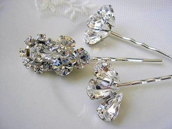 Mariage - BRIDAL hairpin ,bridesmaid jewelry, vintage style,  wedding hair  , bridal hair accessories, Rhinestone set of 3 ,