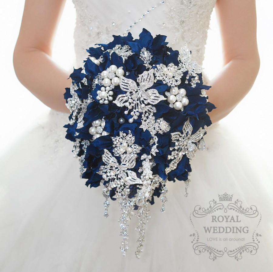 Wedding bouquet cascading brooch bouquet bridal bouquet bridesmaids wedding bouquet cascading brooch bouquet bridal bouquet bridesmaids bouquet navy blue brooch bouquet jeweled bouquet hydrangea bouquet mightylinksfo