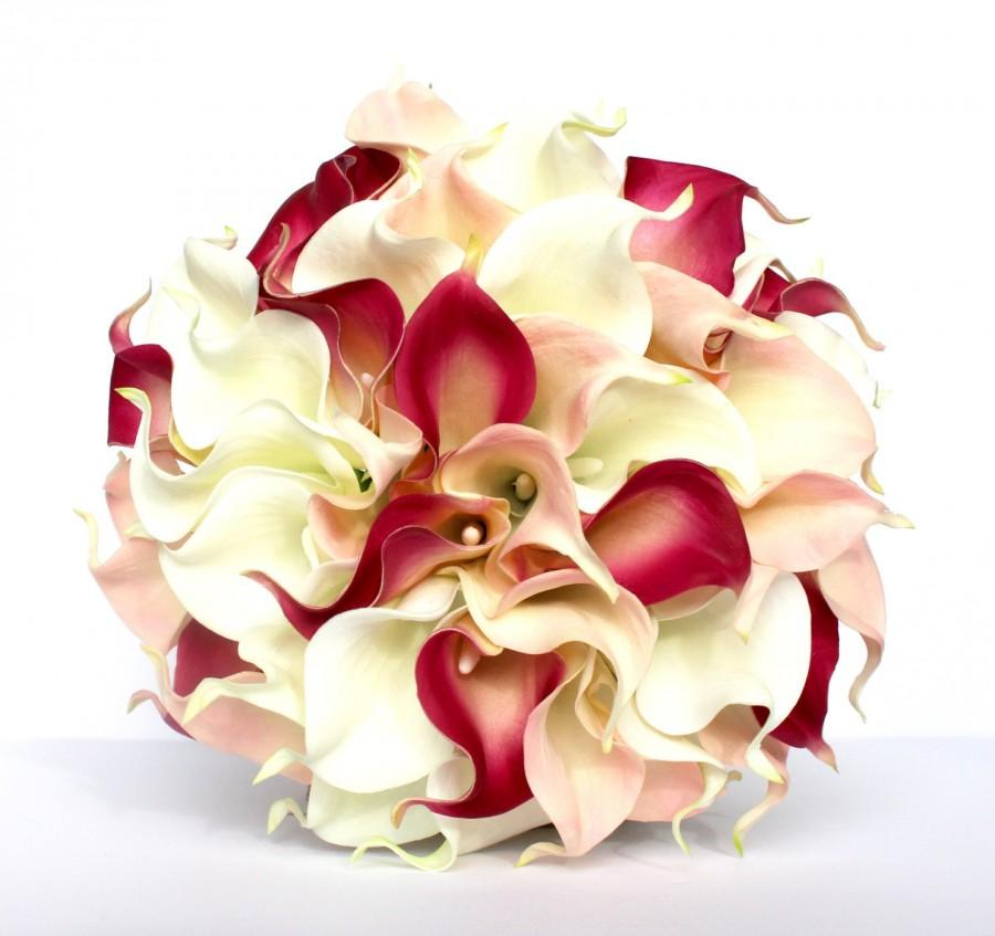 Mariage - Pink Calla Lily Wedding Bouquet - Pink Bridal Bouquet
