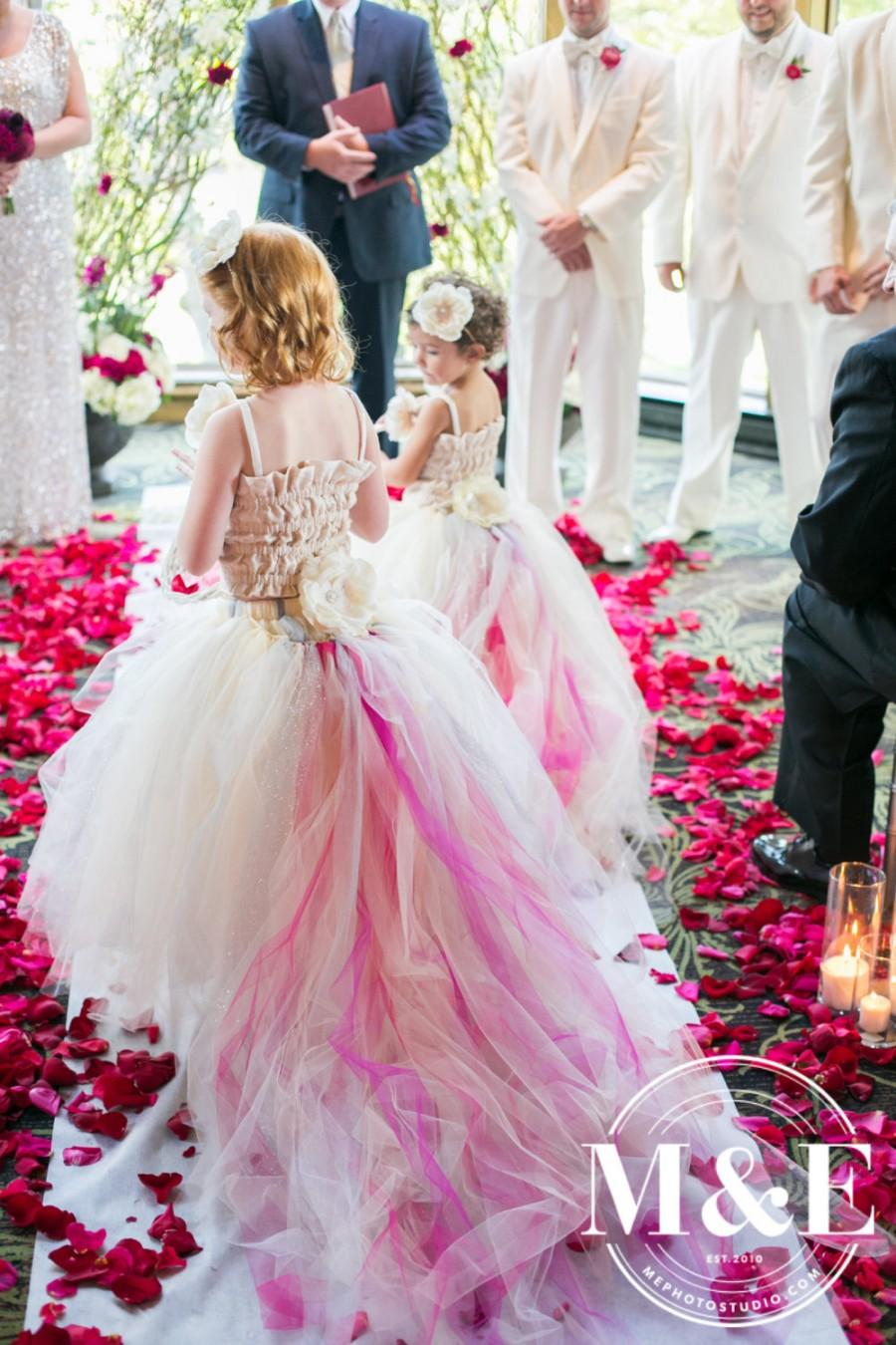 Mariage - Lace and Tulle Flower Girl Dress -Girls Formal Wear--Skirt and Detachable Train--Many Color Options--Perfect for Weddings, Pageants