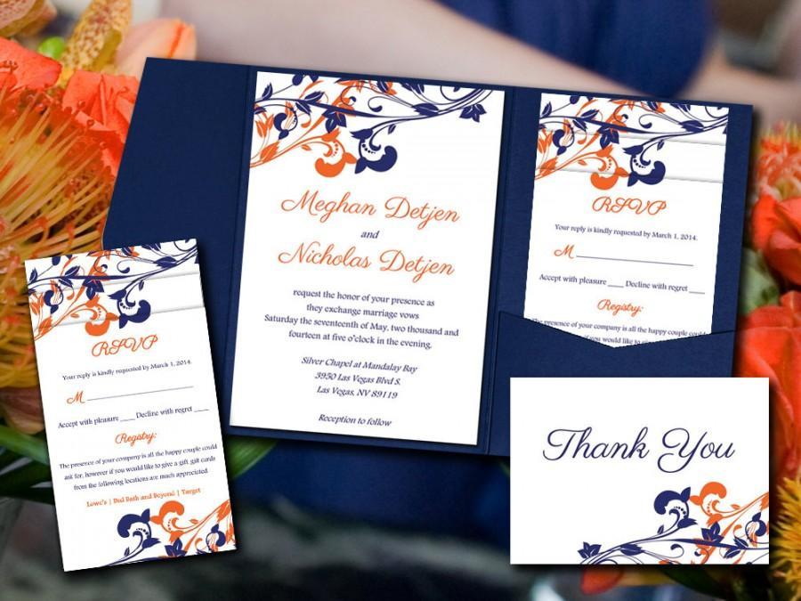 "Wedding - Wedding Pocketfold Template Download - Navy Orange Invitation ""Whimsical Vines"" Navy Orange Invite RSVP Accommodation Reception Thank You"