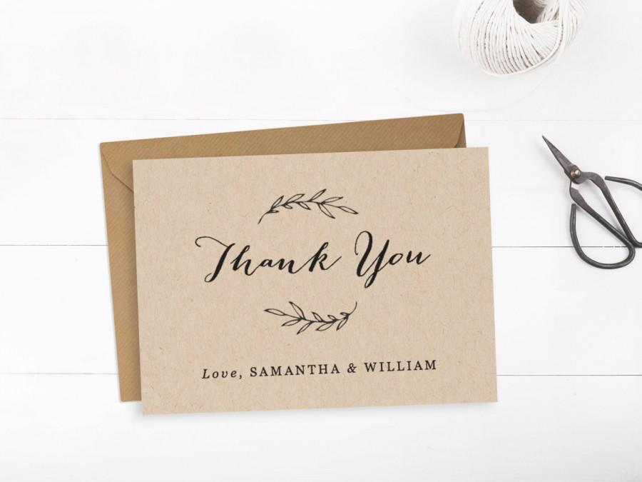 Printable Wedding Thank You Card Template Editable Text And Color Rustic INSTANT DOWNLOAD Edit In Word Or Pages