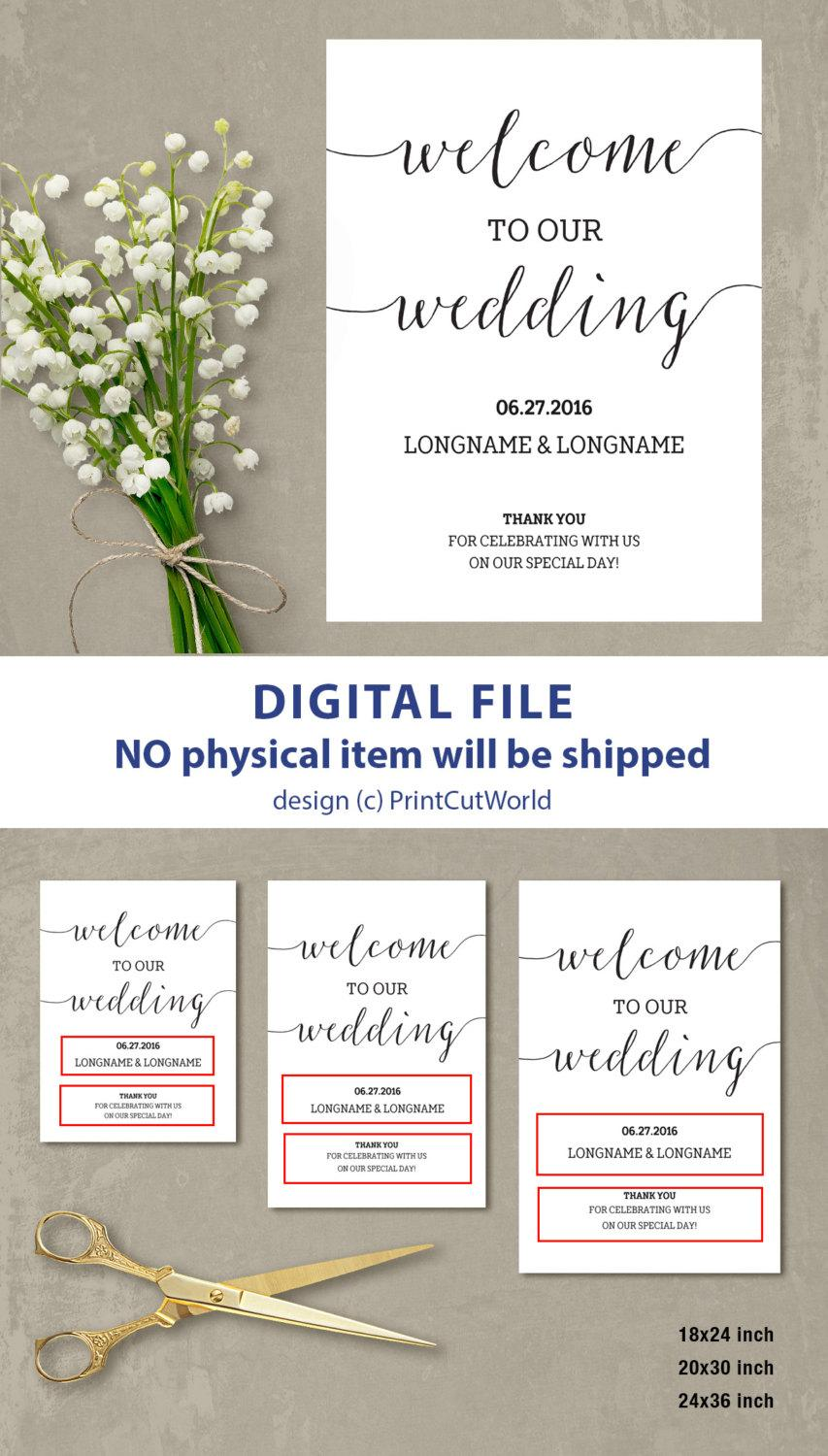 Wedding - Welcome wedding sign Welcome wedding template Welcome sign wedding Minimalist Modern Printable Wedding Poster Board  Script font DIY PDF