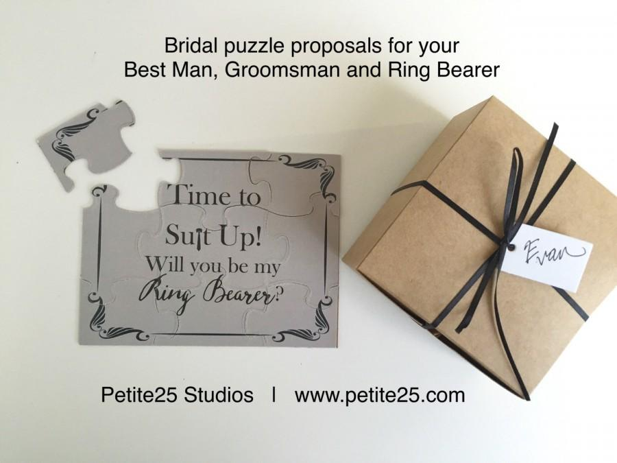 Wedding - PUZZLE: Time to Suit Up! Will you be my Ring Bearer? card, wedding party card, bridal party card, groomsman, ring bearer, groomsmen,