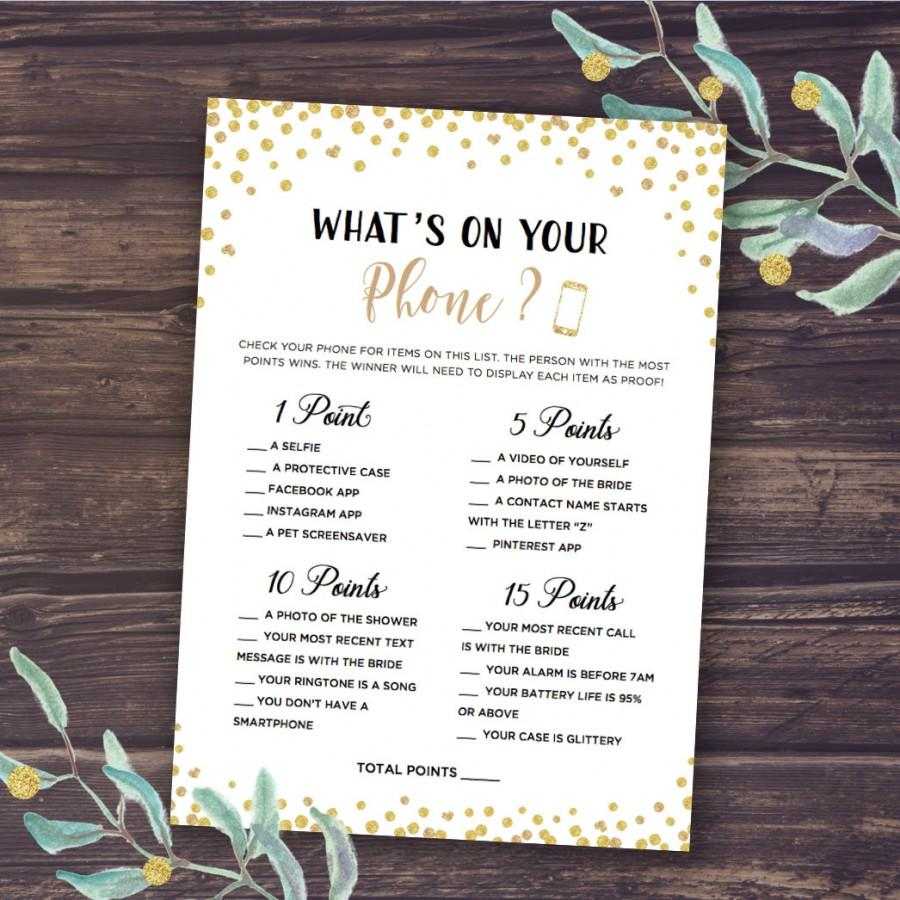 whats in your phone game instant download printable bridal shower games whats on your phone gold glitter confetti wedding shower fun