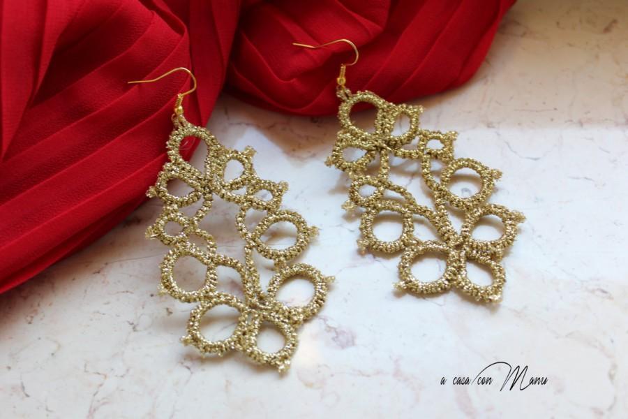 Wedding - Orecchini in pizzo chiacchierino, lace tatting earrings, oro, gold, orecchini pendenti, bijoux, per lei, idea regalo, fatto a mano in Italia