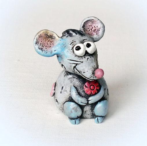 زفاف - Mouse clay figurine pottery toy mouse figurine Gift kids mouse clay mouse toy mouse clay doll mouse miniature garden figure grey mouse