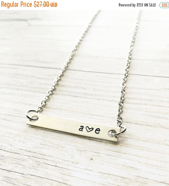 Mariage - FLASH SALE Christmas Gifts for Her - Initial Necklace Bar - Christmas Gifts - Gift for Bride