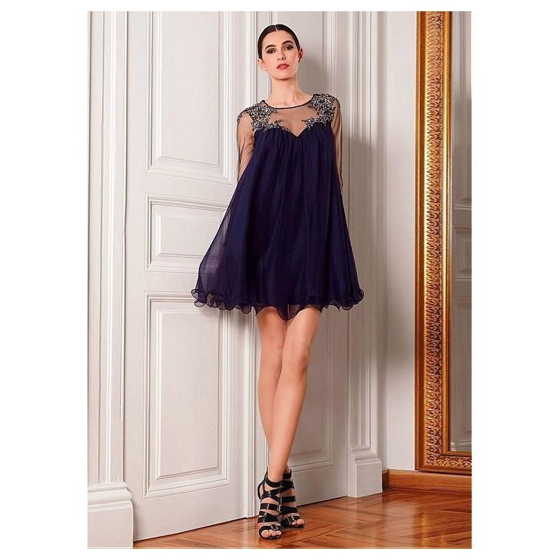 زفاف - Elegant Tulle & Silk-like Chiffon Jewel Neckline A-line Homecoming Dresses with Detachable Sash & Beadings & Rhinestones - overpinks.com