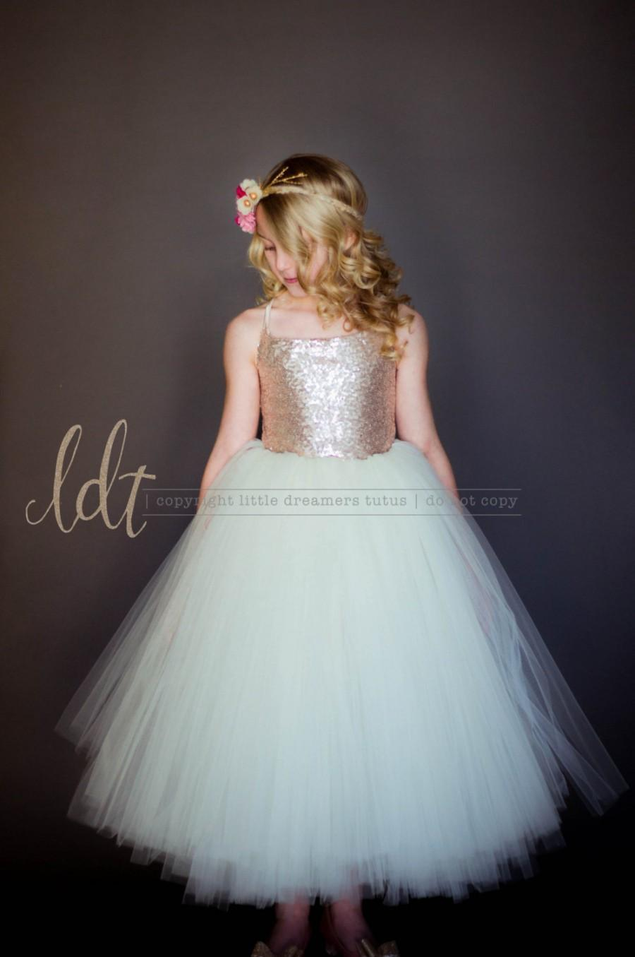 Mariage - NEW! The Grace Dress in Champagne Sequins and Ivory - Flower Girl Dress