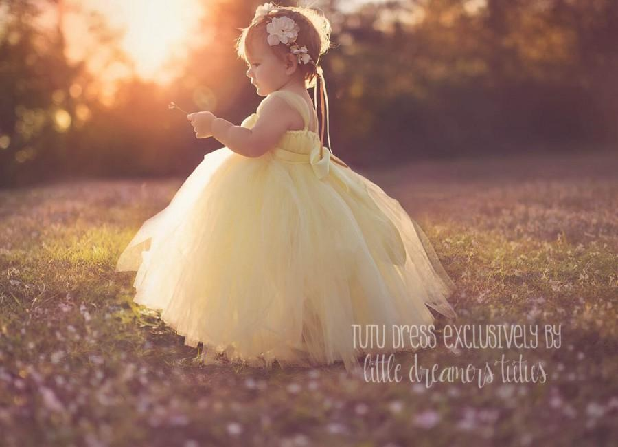 Mariage - Sweet Yellow Flower Girl Tutu Dress