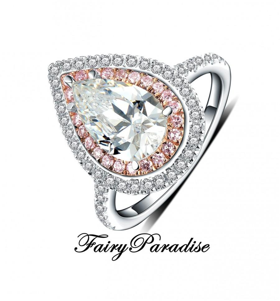 Свадьба - 3 Ct Art Deco Two Tone Double Halo Engagement Rings / Promise Ring, Pear Cut Man Made Diamond, rose gold plated inner halo (Fairy Paradise)