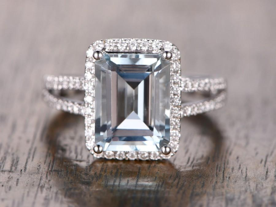 Aquamarine Ring 2 Rows Pave Diamond Halo Ring Emerald Cut Engagement Ring Spl