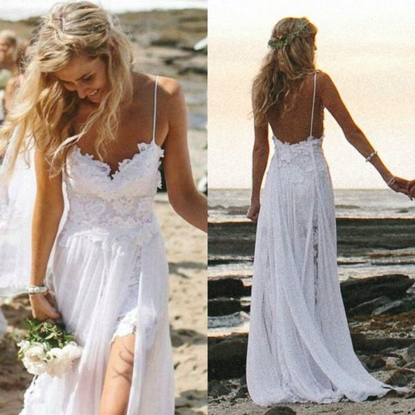 Hochzeit - New Arrival Charming Spaghetti Straps Long Beach Wedding Dress with Appliques Lace