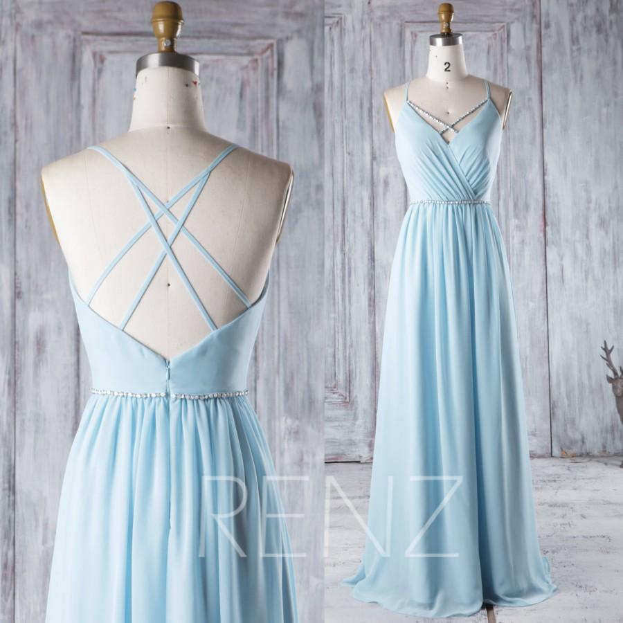f463c12949f4 2016 Light Blue Chiffon Bridesmaid Dress with Beading, A Line Wedding Dress,  Spaghetti Straps Prom Dress Open Back Floor Length (H291)