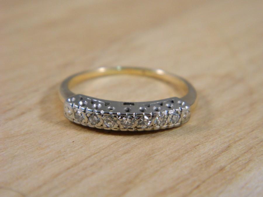 Mariage - Diamond Wedding Band / Vintage 14k Yellow and White Gold / Illusion Wedding Ring Size 7