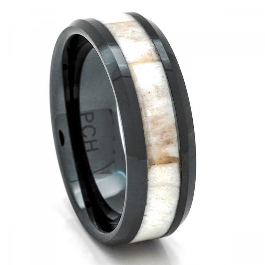 زفاف - Deer Antler Ring in Black Ceramic 8mm Comfort Fit Wedding Band