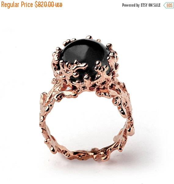 HOLIDAYS SALE CORAL 14k Rose Gold yx Ring Black yx