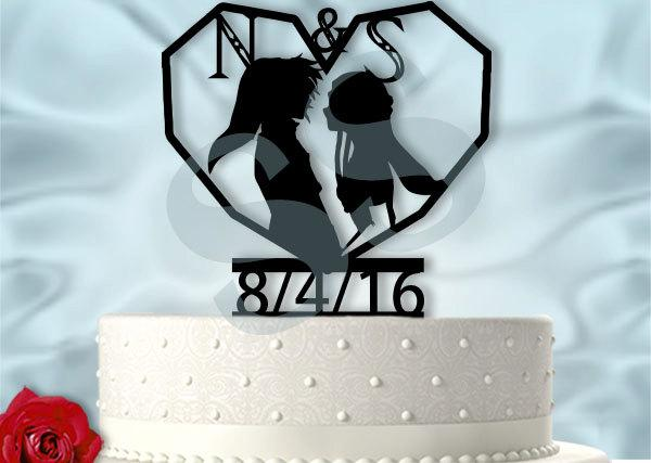 Hochzeit - Link and Zelda with Initials and Date  Inspired Wedding Cake Topper