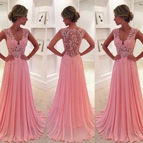 Wedding - Classic Prom Dress/Evening Dress- Pink A-Line V-Neck Court Train with Appliques from Dressywomen