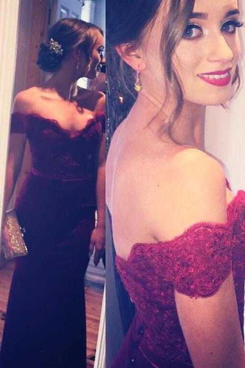 Wedding - Mermaid Sweep Train Off Shoulder Lace Burgundy Long Prom/Evening Dress