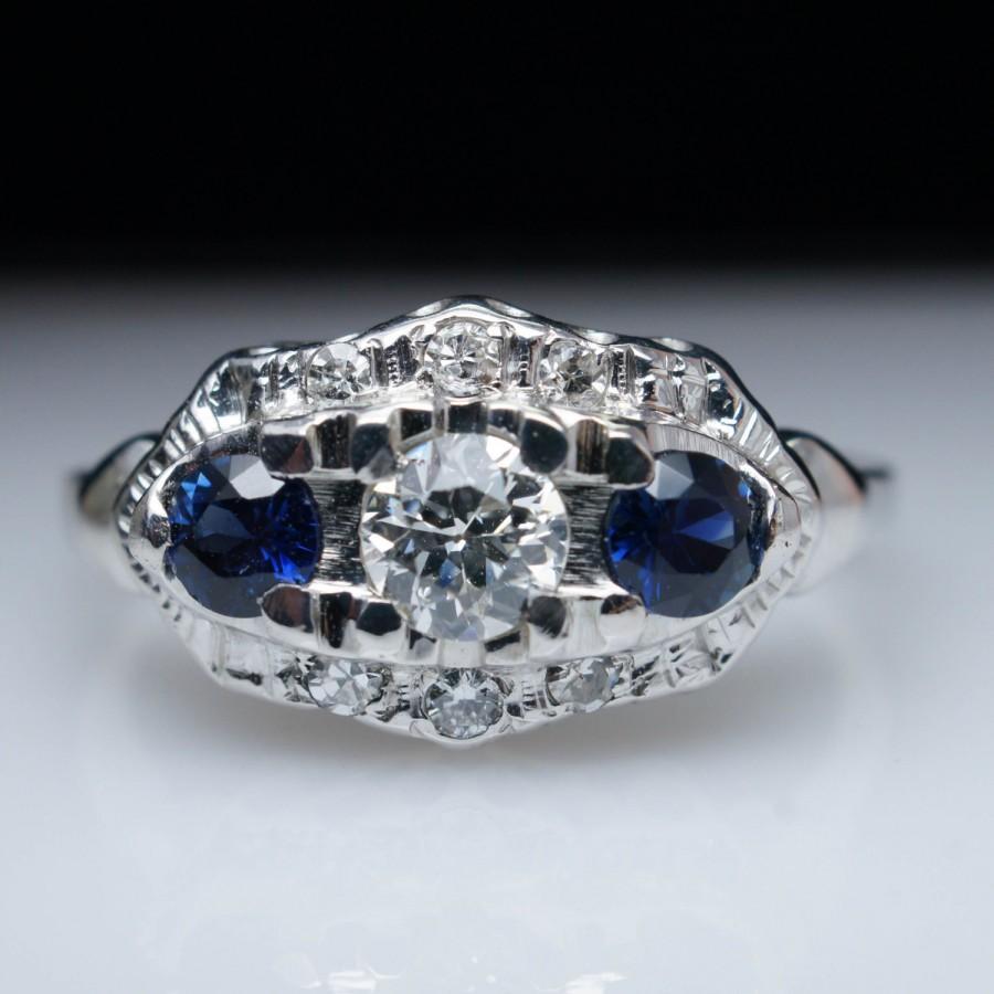 زفاف - Diamond & Sapphire Vintage Edwardian Engagement Wedding Ring 18k White Gold Unique Vintage Three Stone Ring Unique Engagement Ring