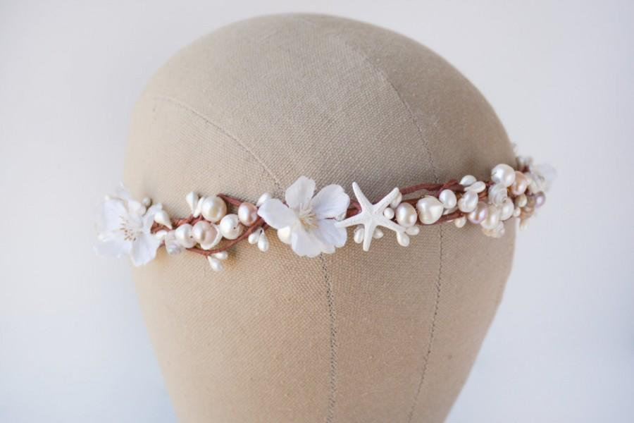 Seashell Crown Beach Wedding Hair Accessories White Flower Bridal Headband Floral Headpiece