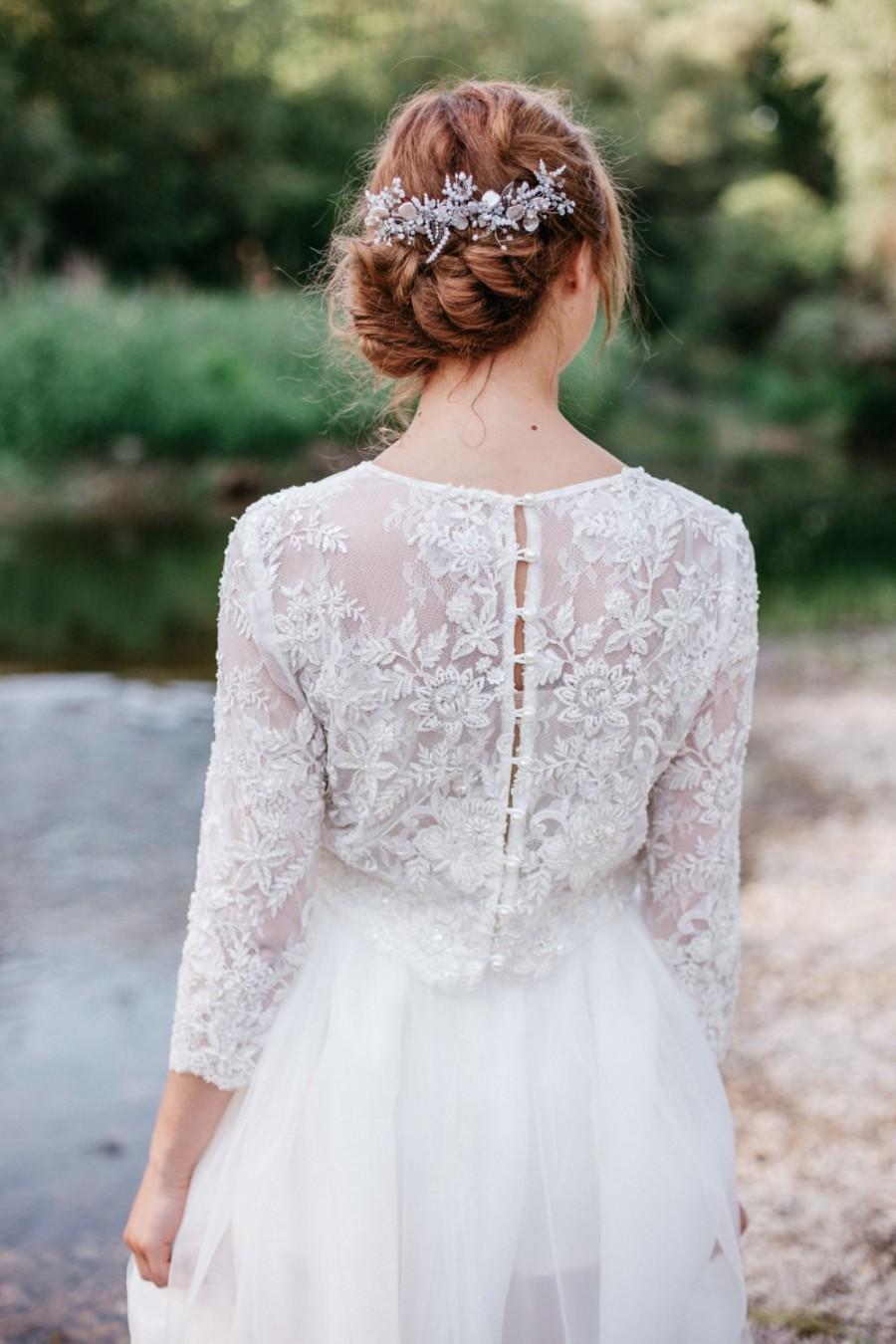 Свадьба - Wedding Headpiece , Bridal Hair Accessories , Freshawater Pearl Hair Piece  , Opal Swarovski Crystal Hair Comb ,Bridal Hair Accessories