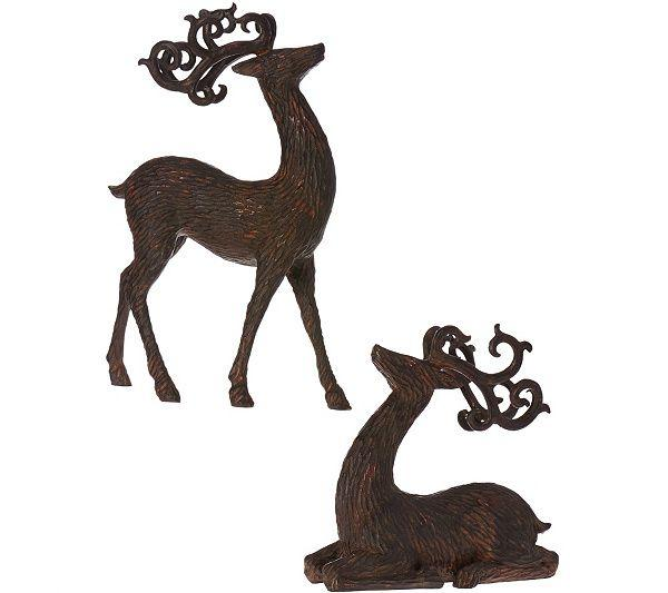 Wedding - Set Of 2 Metallic Antiqued Reindeer