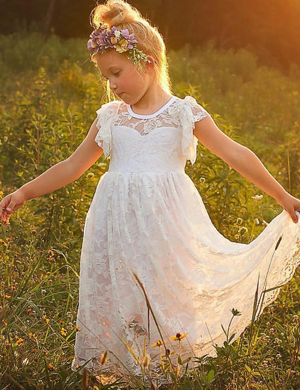Mariage - Flower Girl Dress, lace girl dress, rustic flower girl dress, flower girl lace dresses, country lace dress, ivory lace dress, Girls dresses