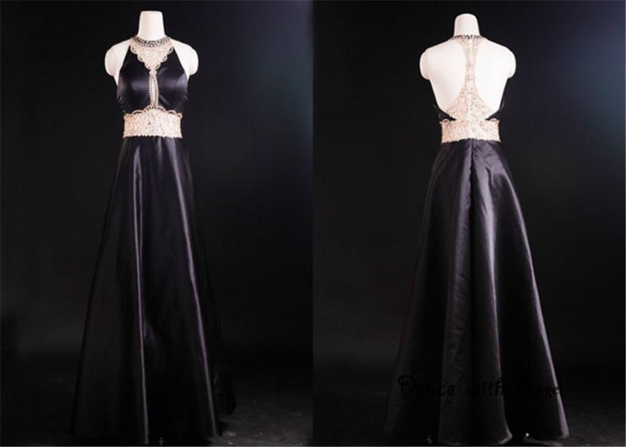 Mariage - Sexy Black rhinestones beading prom dresses,prom dress,long prom dress,bridesmaid dresses,evening dresses,bridesmaid dress,evening dress