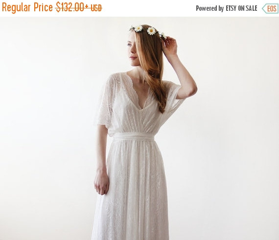 Mariage - FLASH SALE Floral Lace maxi sheer gown, Country wedding lace dress, Ivory Lace maxi wedding dress 1044
