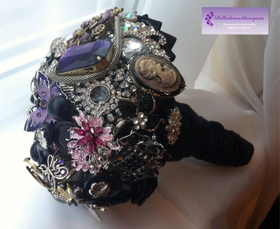 Mariage - Brooch bouquet. Black, purple and silver brooch bouquet. Gothic brooch bouquet. Rock chick brooch bouquet